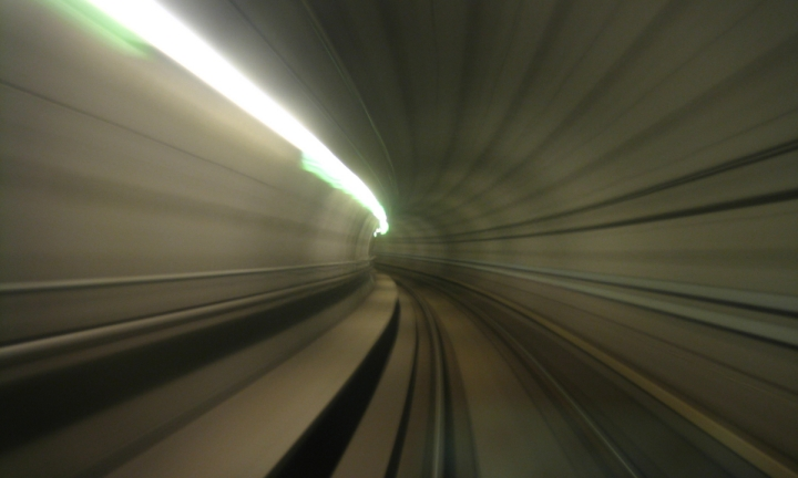 A motion blurred subway tunnel.